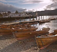 Windermere Rowing Boats at Sunset by Avril Jones