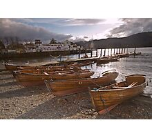 Windermere Rowing Boats at Sunset Photographic Print