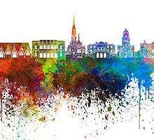 Gothenburg skyline in watercolor background by paulrommer