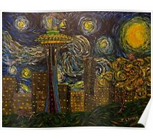 "Dedication to Van Gogh ""Seattle Starry Night"" (2015) Poster"