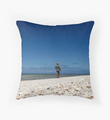 Lone Beach Walk Throw Pillow