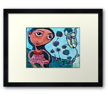 Girl and Cat Framed Print