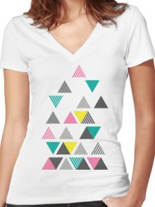 Abstract Triangle Design Women's Fitted V-Neck T-Shirt
