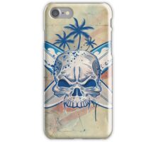 skull on surfboard background iPhone Case/Skin