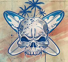 skull on surfboard background by Doomko