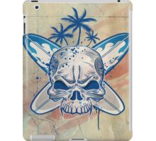 skull on surfboard background iPad Case/Skin