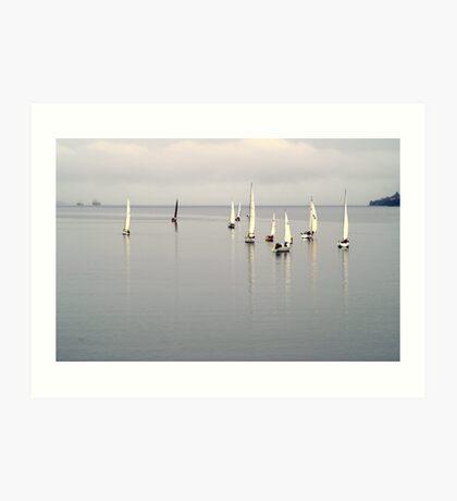Becalmed Yachts, River Derwent Art Print