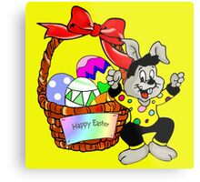 Easter bunny with Easter egg basket Metal Print