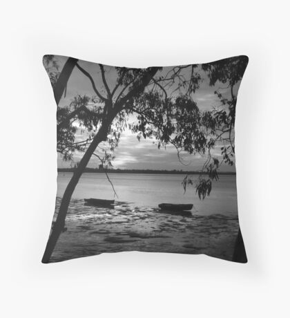 Shadow Twin Boat Sunset Throw Pillow