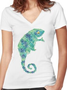 Chameleon Lizard Green Women's Fitted V-Neck T-Shirt