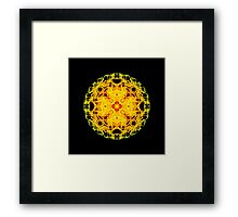 """Spirit of India: Cross-Column - Circle"" in grass green and yellow Framed Print"
