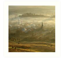 the village born from the fog.... Art Print