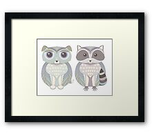 Dog Blue and Raccoon Framed Print