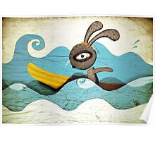Surfing Waves Swirls Poster