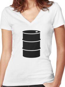 Oil barrel Women's Fitted V-Neck T-Shirt