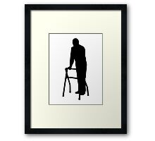 Old person man walking frame Framed Print