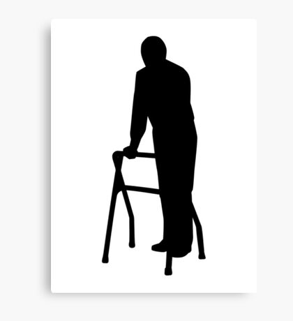 Old person man walking frame Canvas Print