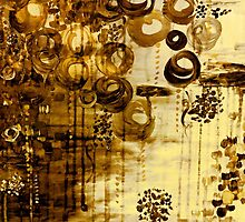 BUBBLEGUM DREAMS - SEPIA TONE Elegant Fine Art Abstract Acrylic Painting Vintage Whimsical Clouds Sky Rainbow Balloons Swirls by EbiEmporium