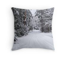 Snowy Country Road Throw Pillow