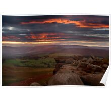 Sunset at Stanage Poster