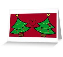 Adorable Kawaii Christmas Tree Couple Greeting Card