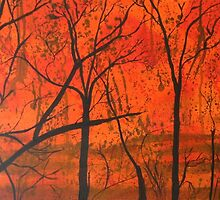 Bushfire Silhouette by Wendy Sinclair