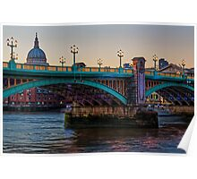 Southwark Bridge, London, England Poster