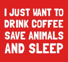 Coffee Animals Sleep 2 Kids Clothes