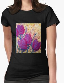 Purple Tulips Womens Fitted T-Shirt