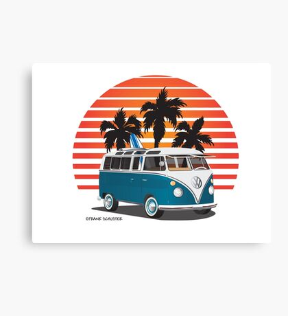 Hippie VW Split Bus Teal with Surfboard, Palmes & Sunset Canvas Print