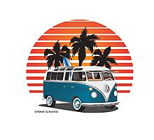 VW Split Bus Teal with Surfboard, Palmes & Sunset Photographic Print