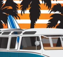 VW Split Bus Teal with Surfboard, Palmes & Sunset Sticker