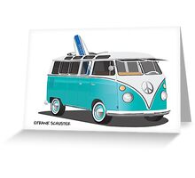 Hippie VW Bus Teal & Surfboard Greeting Card
