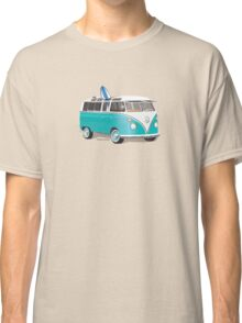 Hippie VW Bus Teal & Surfboard Classic T-Shirt