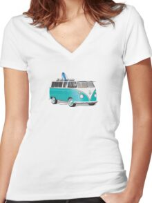 Hippie VW Bus Teal & Surfboard Women's Fitted V-Neck T-Shirt