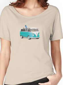 Hippie VW Bus Teal & Surfboard Women's Relaxed Fit T-Shirt