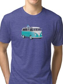 Hippie VW Bus Teal & Surfboard Tri-blend T-Shirt