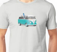 Hippie VW Bus Teal & Surfboard Unisex T-Shirt