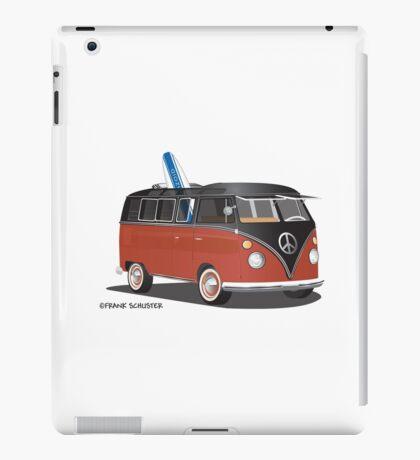 Hippie Split Window VW Bus Red Black & Surfboard iPad Case/Skin