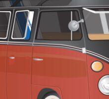 Hippie Split Window VW Bus Red Black & Surfboard Sticker