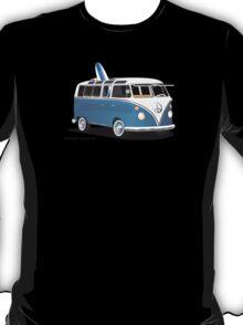 Hippie Split Window VW Bus Blue & Surfboard T-Shirt