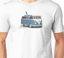 Hippie Split Window VW Bus Blue & Surfboard Unisex T-Shirt