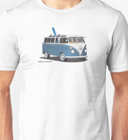 Hippie Split Window VW Bus Blue & Surfboard Unisex T-Shirt