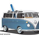 Hippie Split Window VW Bus Blue & Surfboard by Frank Schuster