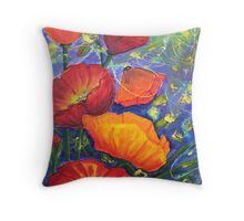Poppies Seeking Light Throw Pillow