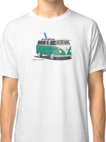 Hippie Split Window VW Bus Green & Surfboard Classic T-Shirt