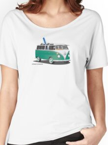 Hippie Split Window VW Bus Green & Surfboard Women's Relaxed Fit T-Shirt