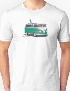 Hippie Split Window VW Bus Green & Surfboard Unisex T-Shirt