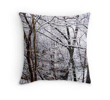 New England Winter Woods Throw Pillow