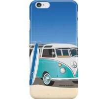 Hippie Split Window VW Bus Teal & Surfboard & Ocean iPhone Case/Skin